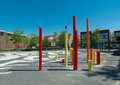 School yard modern with artistic colored poles Stock Images