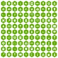 100 school years icons hexagon green