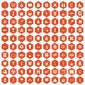 100 school years icons hexagon orange