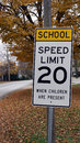 School Zone Sign in Fall Royalty Free Stock Photo