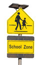 School zone sign isolated on white Royalty Free Stock Photography