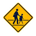 School zone signs yellow sings Stock Photos