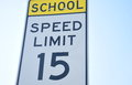 School Zone Speed Limit 15 Royalty Free Stock Photo