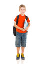Schoolboy with backpack portrait of isolated on white Stock Image