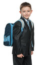 Schoolboy with a bag Stock Image