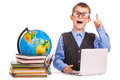 Schoolboy with books and laptop on a white Royalty Free Stock Photos