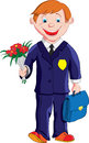 Schoolboy with a bouquet of flowers and a portfolio goes to school Stock Image