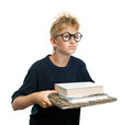 Schoolboy clever holding a books Stock Photos