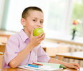 Schoolboy eating an apple Royalty Free Stock Photo
