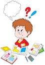 Schoolboy at homework Royalty Free Stock Photo