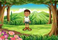 A schoolboy in the middle of the forest illustration Royalty Free Stock Images