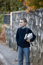 Schoolboy outdoors Royalty Free Stock Photo