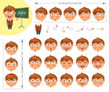Schoolboy parts of body template for design work and animation face elements funny cartoon character he nodded his head Stock Images