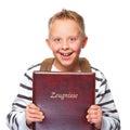 Schoolboy proud of his school certificate Royalty Free Stock Photo