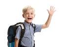 Schoolboy saying hello Royalty Free Stock Photo