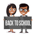 Schoolboy and schoolgirl with a sign board. Back to school. Funny characters.
