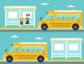 Schoolboy and Schoolgirl Waiting for School Bus at Bus Stop. School Bus Leaving Bus Stop Royalty Free Stock Photo