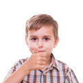 Schoolboy showing numbers with hand Royalty Free Stock Photo