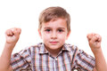 Schoolboy showing numbers with hands Royalty Free Stock Photo