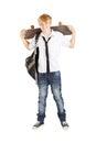 Schoolboy with skateboard Stock Photo