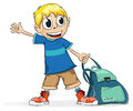 Schoolboy smiling with a backpack in his hand on a white background Royalty Free Stock Images