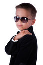 Schoolboy in suit and glasses Royalty Free Stock Image