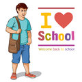 Schoolboy vector illustration of a teenager Royalty Free Stock Photo