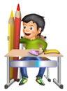 Schoolboy w pencils and banana