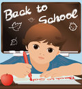 Schoolboy writing back to school vector illustration Stock Photo