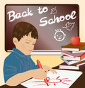 Schoolboy writing in a notebook vector illustration Stock Image