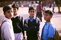 Schoolboys in uniforms in India Stock Photo