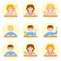 Schoolchild avatar vector illustration flat cartoon school Stock Image