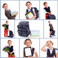Schoolchild collage of images happy schoolboy and schoolgirl with book flower and backpack isolated on white background Royalty Free Stock Photography