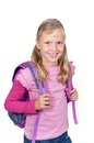 Schoolgirl with backpack Royalty Free Stock Photo