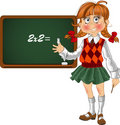 Schoolgirl with a blackboard Royalty Free Stock Photos