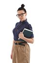 Schoolgirl with book and black framed glasses Stock Images