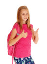 Schoolgirl with both thump's up. Royalty Free Stock Photo