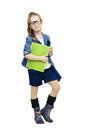 Schoolgirl child in glasses holding book. Student Royalty Free Stock Photo