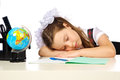 Schoolgirl Elementary School sleeping Royalty Free Stock Photo