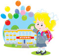 Schoolgirl elementary school student with a schoolbag before a school with flying holiday balloons Stock Images
