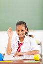 Schoolgirl hand up Royalty Free Stock Photos