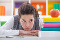 Schoolgirl with learning difficulties sad books Stock Image