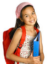 Schoolgirl of mix ethnicity holding a blue folder Royalty Free Stock Photography
