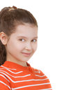 Schoolgirl in orange striped blouse beautiful smiling isolated on white background Stock Images