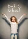 Schoolgirl about school board child girl near blackboard Stock Photography
