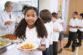 Schoolgirl in a school cafeteria Royalty Free Stock Photo