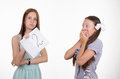 Schoolgirl shocked by obtained twos the teacher once again delivered a deuce poor student Royalty Free Stock Photo