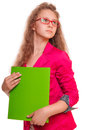 Schoolgirl teen girl serious in glasses holding a folder for papers portrait isolated on white background Stock Photos