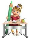 Schoolgirl w pencil and apple