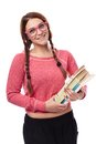 Schoolgirl wearing glasses and holding books studio portrait of sexy with braids pink nerd isolated on white background Stock Photography